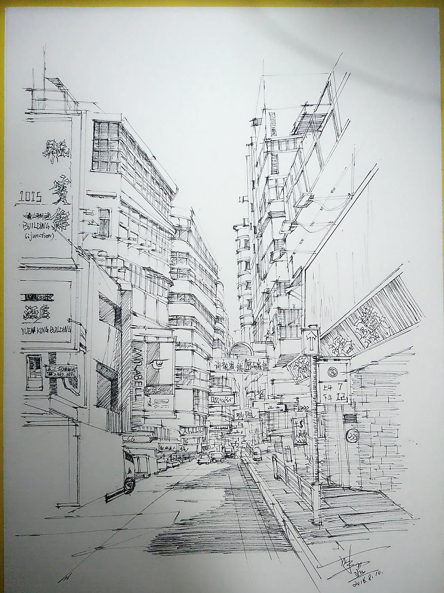街道简笔画线稿