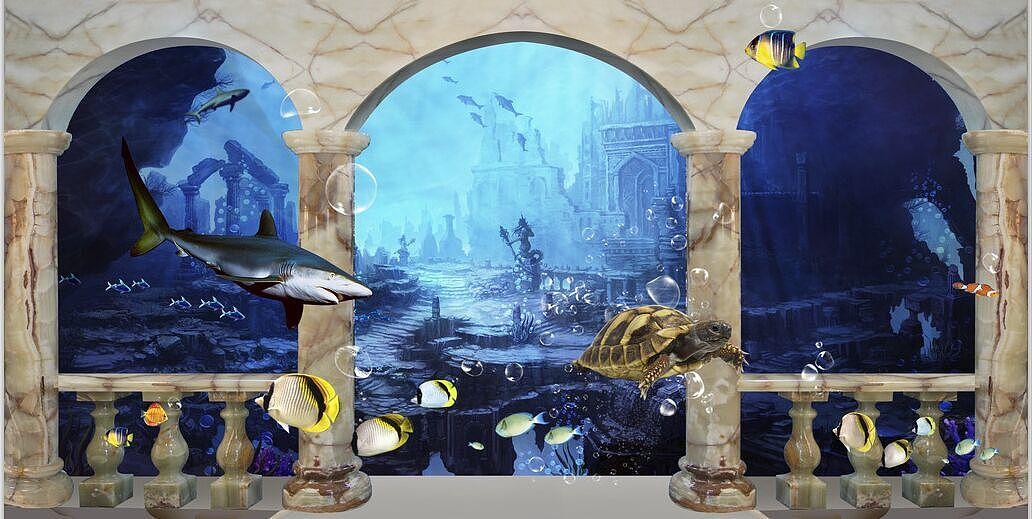 海洋主题涂鸦墙绘