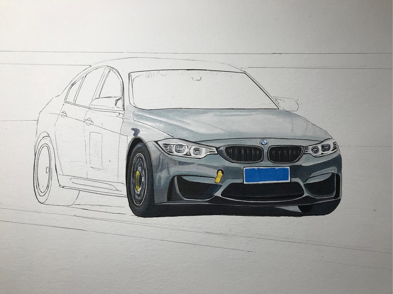 马克笔彩铅手绘汽车