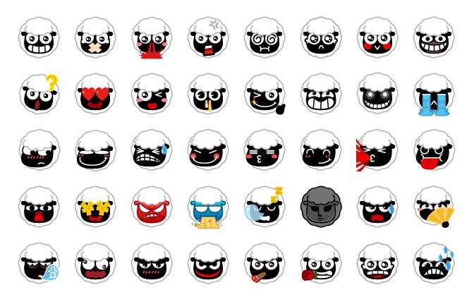小年羊emoji表情60粒图片