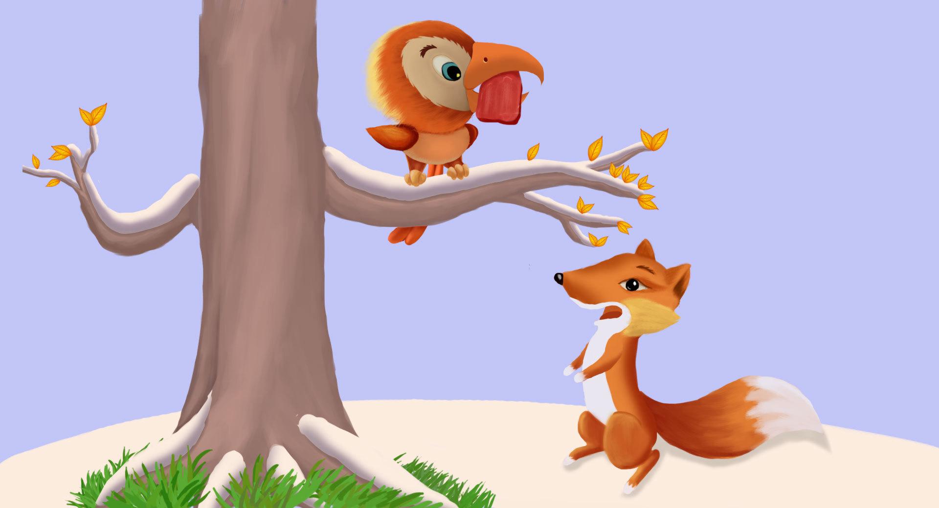 卡通手绘狐狸与乌鸦
