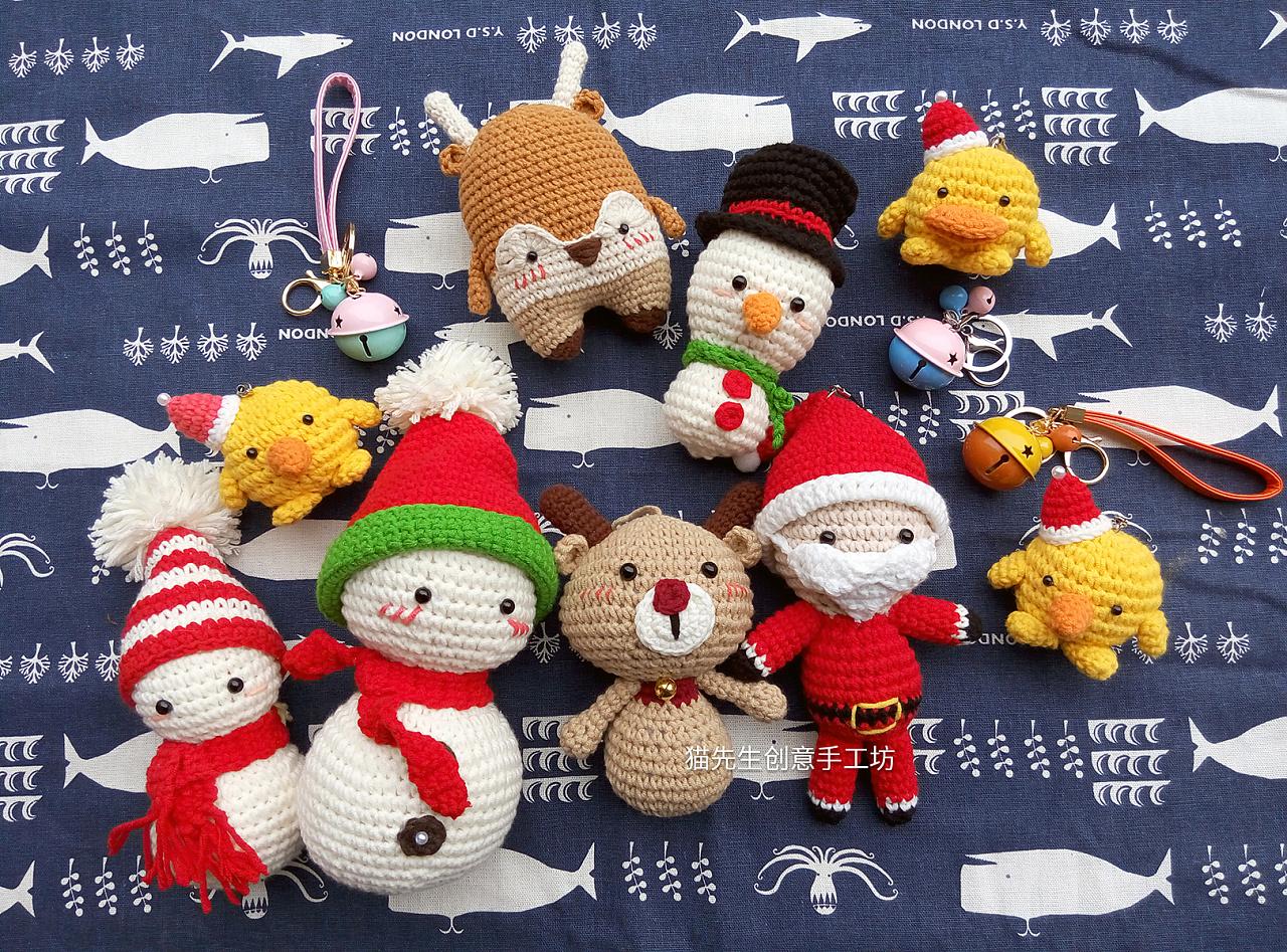 钩针玩偶,猫先生家圣诞系列玩偶