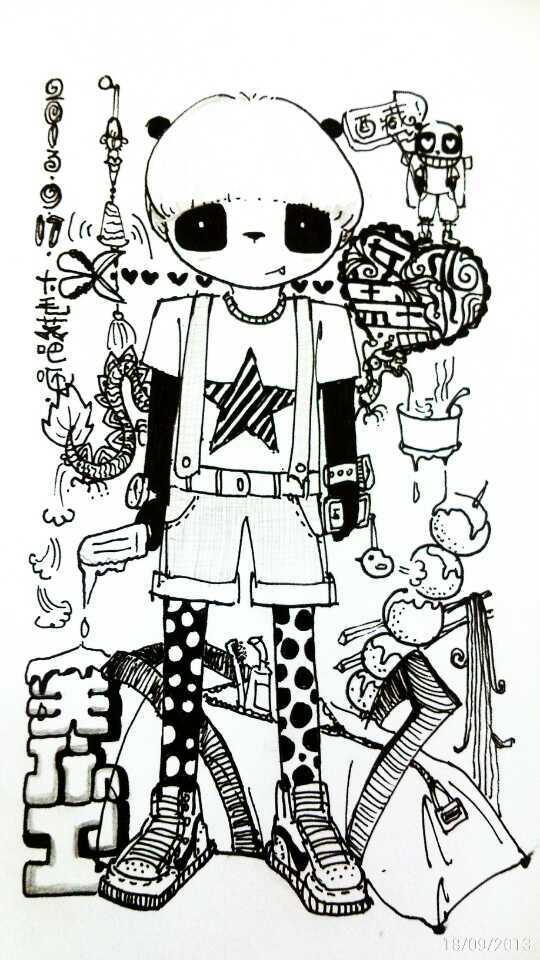儿童背带裤设计图手绘