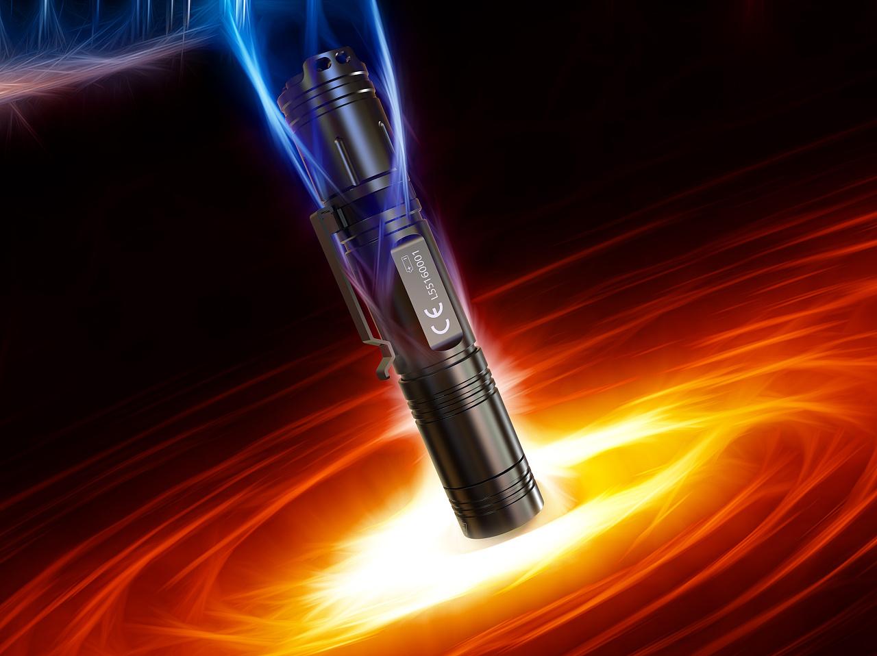 户外 强光 手电筒 产品设计 产品渲染