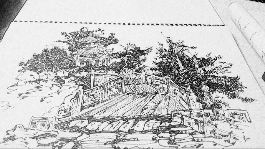 钢笔画 园林 速写 纯艺术 349371993 原创设计作品 站酷 ZCOOL