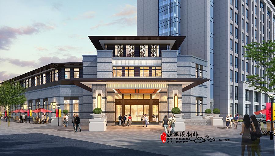 新中式售楼部外观|建筑/空间|三维|w563055573 - 原创