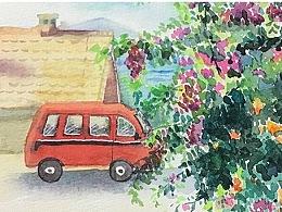 水彩风景花卉海边小汽车