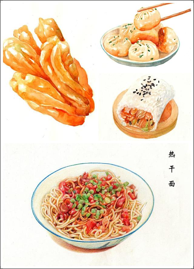 手绘武汉早点之美食系列终于画完啦~作为土生土长的阳朔美食贴吧图片
