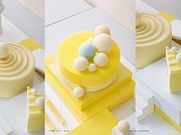 跨界合作X/蛋糕橱窗设计X拟C4D陈列展览X立高X当下视觉