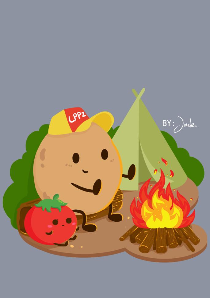 马铃薯片带和童子军小番茄的野外一天图片