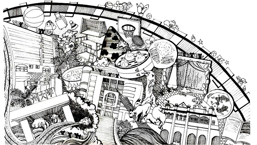 广州大学手绘插画明信片