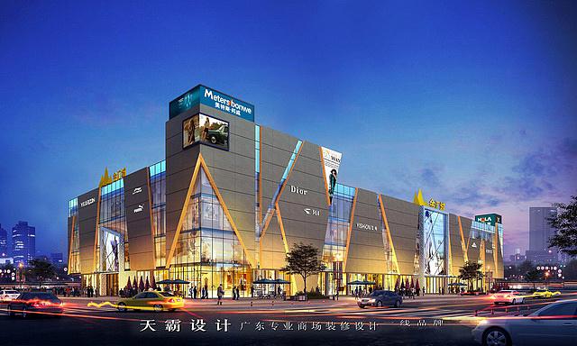 中山购物中心设计案例:金汇城室外灯光效果图图片