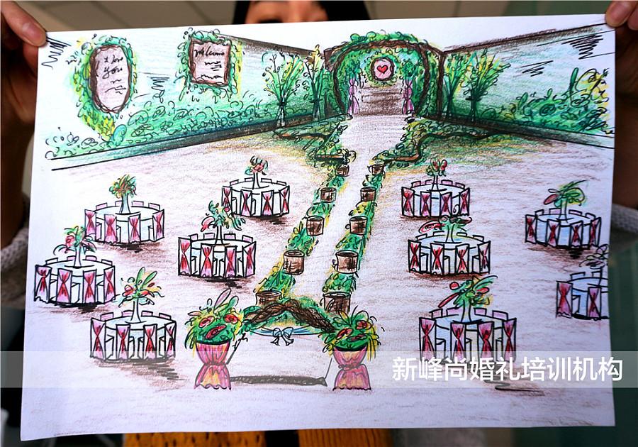 森系婚礼手绘现场效果图