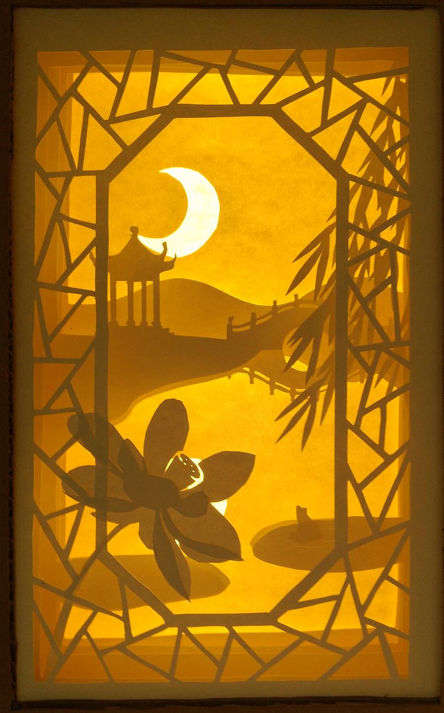 光影纸雕灯|月夜|其他手工|手工艺|475947732 - 原创