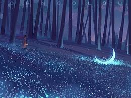 【故事插画】陪着月亮一起孤独