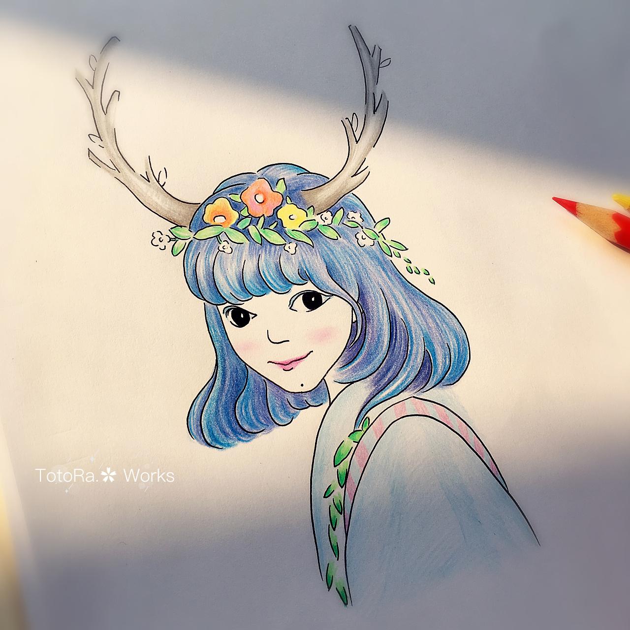 纯手工手绘森女系创作肖像