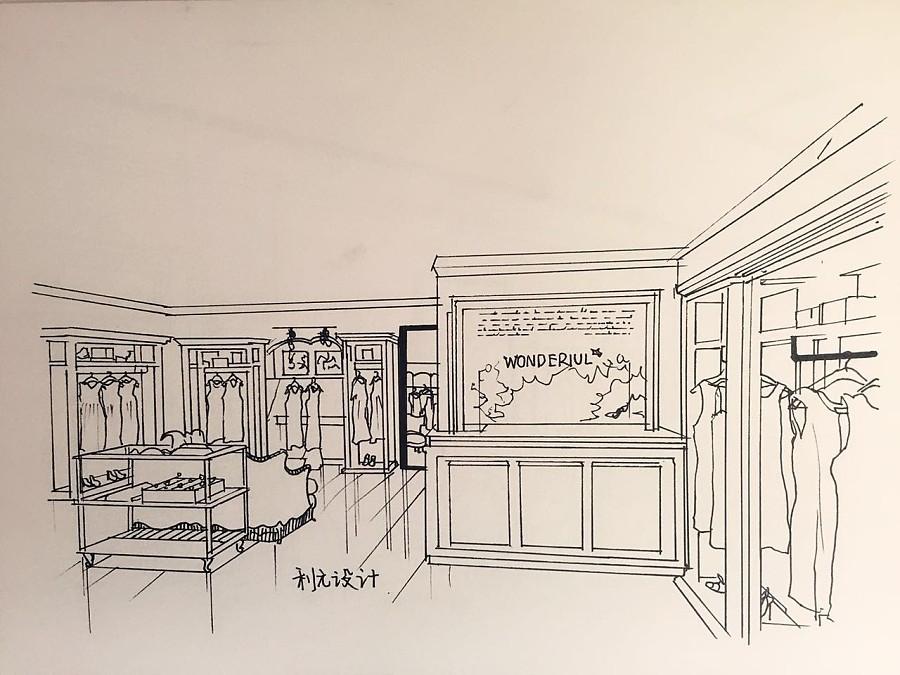服装店手绘稿|展示/橱窗/店面设计|空间/建筑|利元