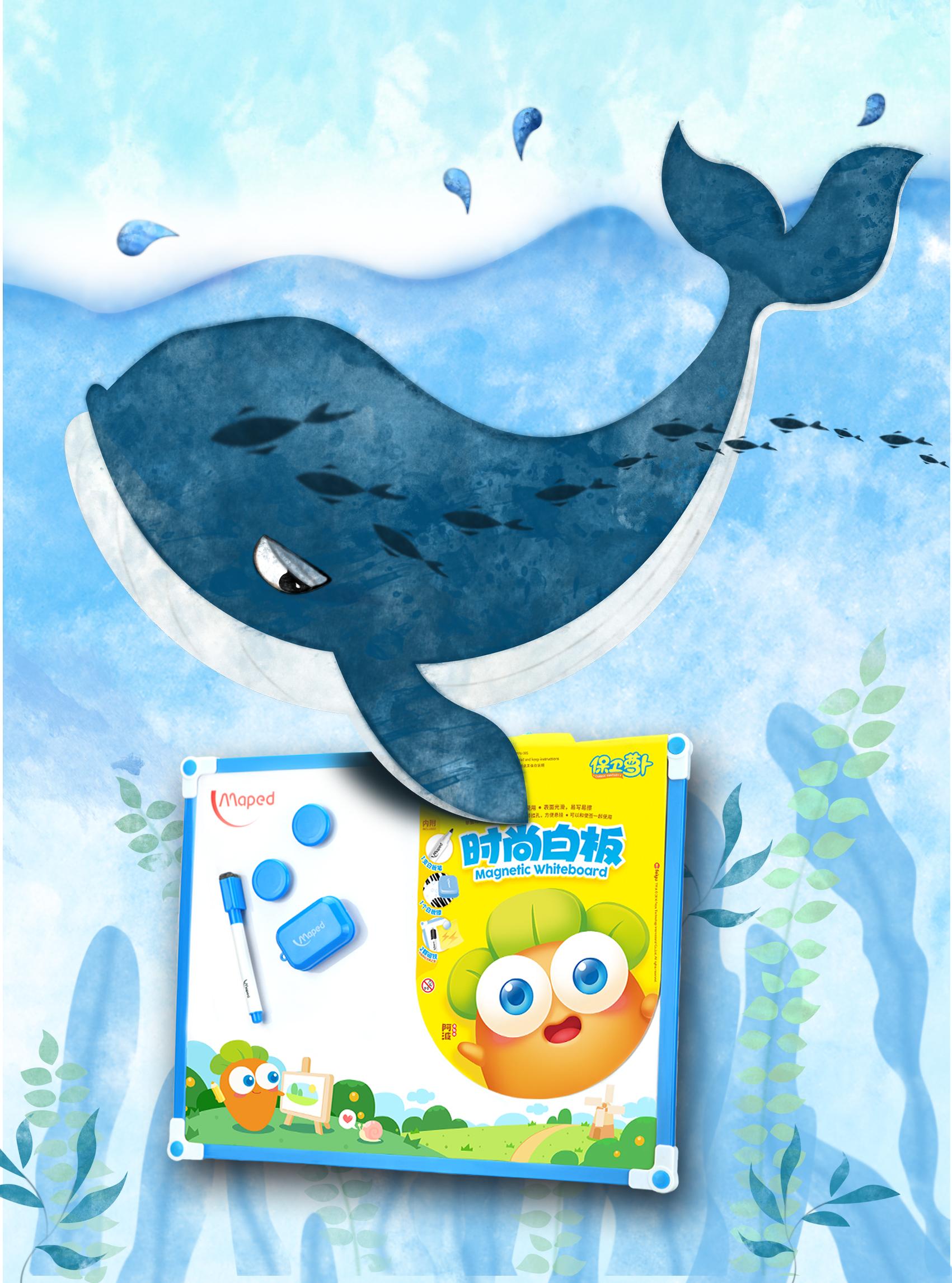 以前看过牛人手绘的鲸鱼,超可爱超萌,所以