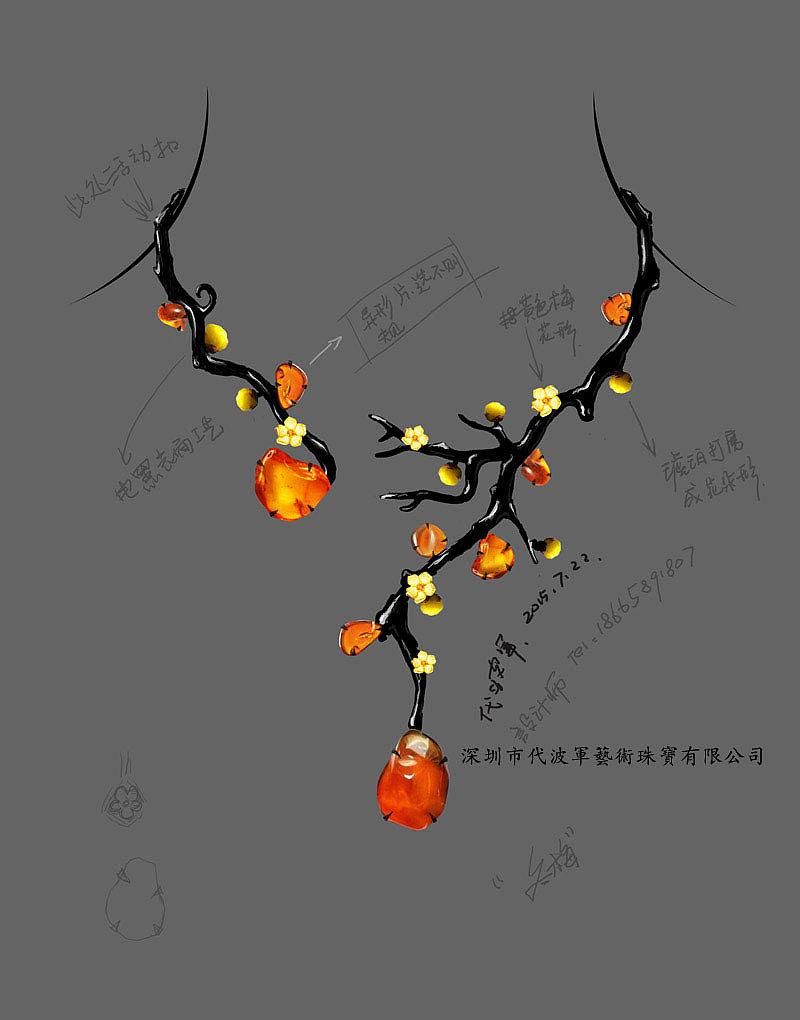 代波军艺术珠宝手绘设计稿!
