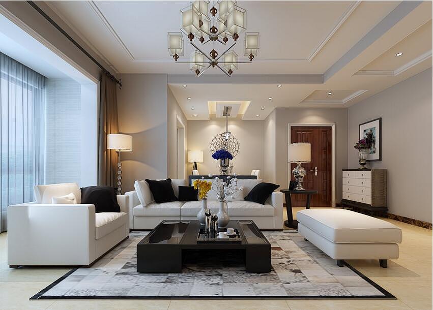 郑东尚庭装修效果图100平现代风格三室两厅设字体v风格bl图片