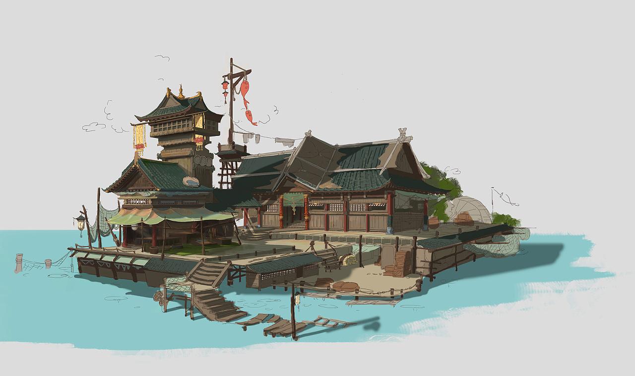 中国风建筑《渔》