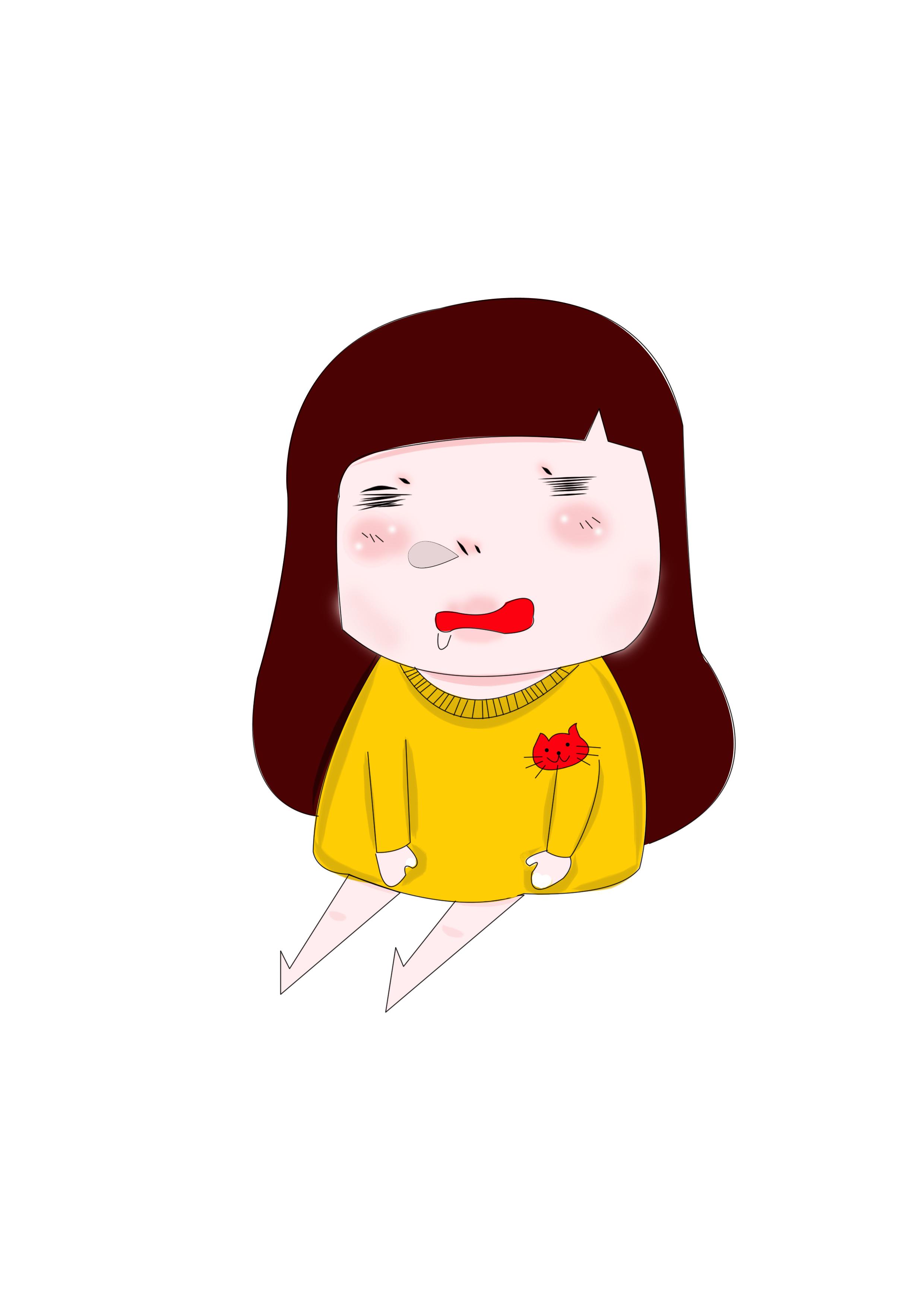 宝哥原创插画手绘手机壁纸打瞌睡不想上班的小女孩卡通童趣