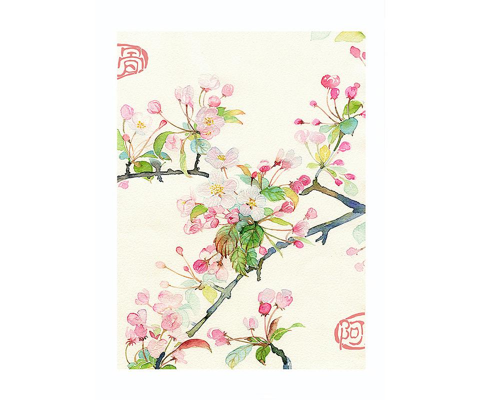 手绘花卉系列——《花之镜Ⅱ》
