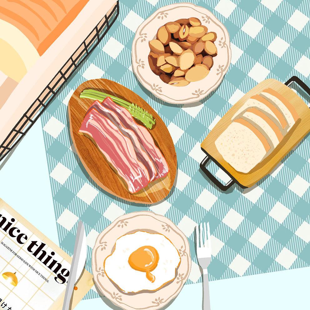 手绘食物集