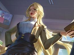 《王者荣耀》雅典娜单词大作战绘画过程+解说