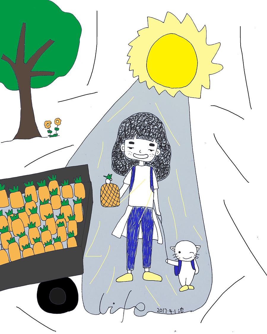 黑菠萝卡通图片