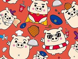 一只猪的卡通形象设计