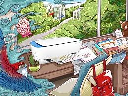 惠普打印机产品宣传插画