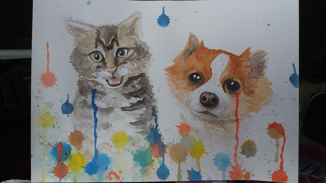 动物水彩画