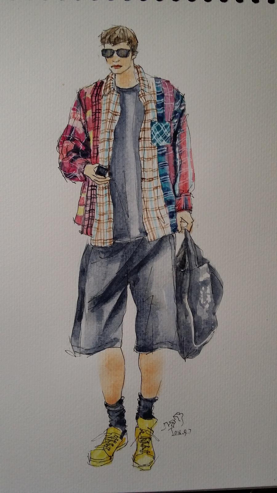 手绘时装插画(男装)|休闲/流行服饰|服装|箐蛙