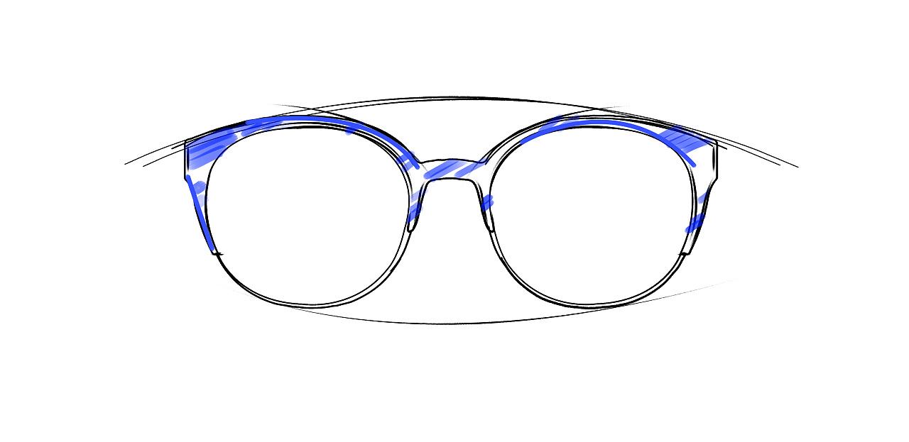 眼镜海报手绘图