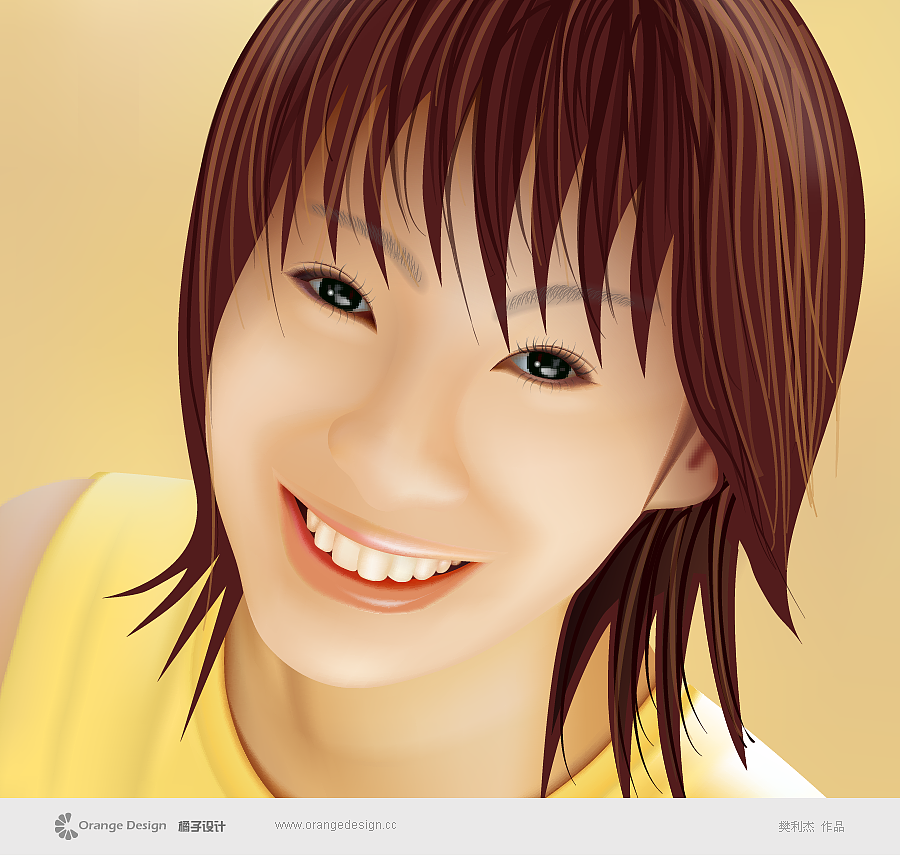 illustrator手绘女孩 插画 涂鸦/潮流 橘子设计