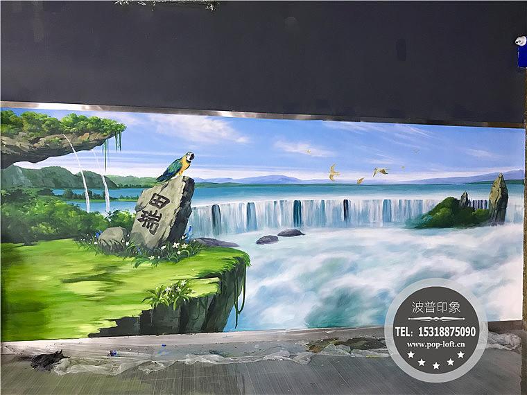 森林主题墙绘 奇幻森林墙绘壁画 雨林森林背景墙绘