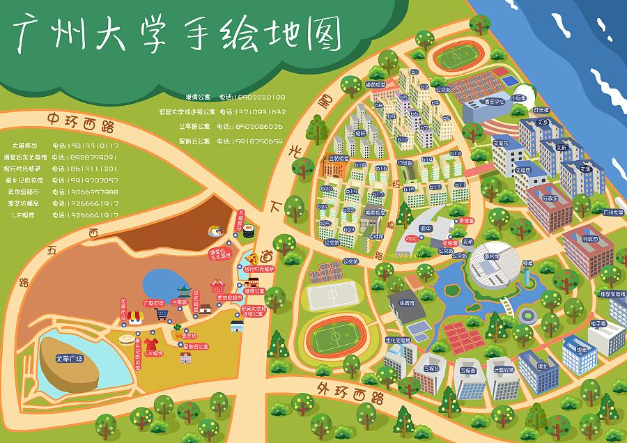 广州大学手绘地图|信息图|平面|么哒阿喵 - 原创设计