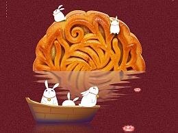 中秋海报月饼