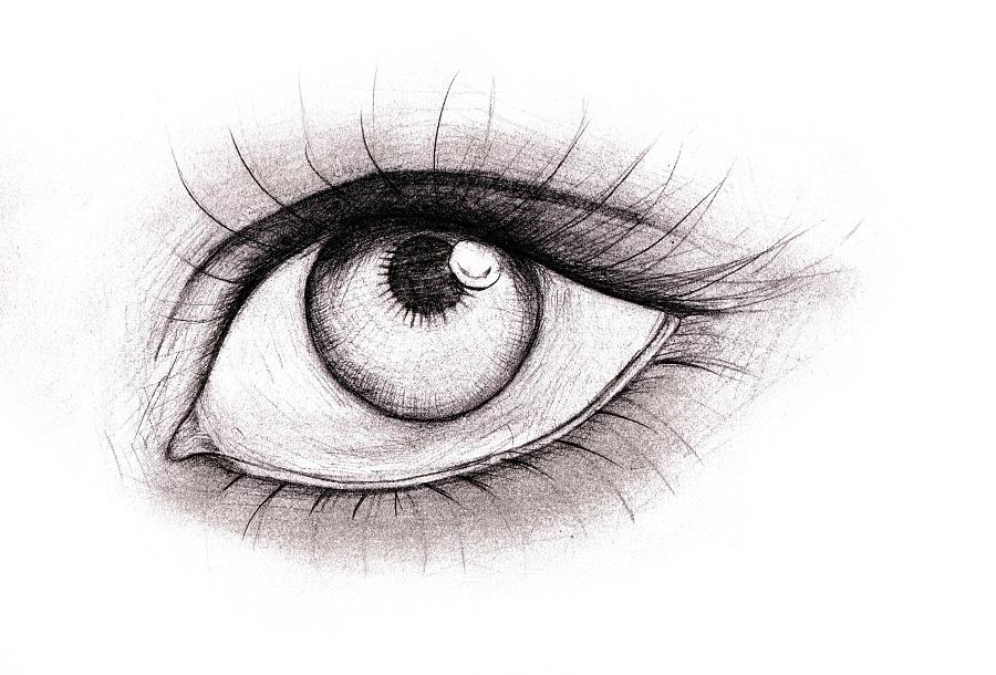 手绘素描(眼睛)|绘画习作|插画|60232578 - 原创设计