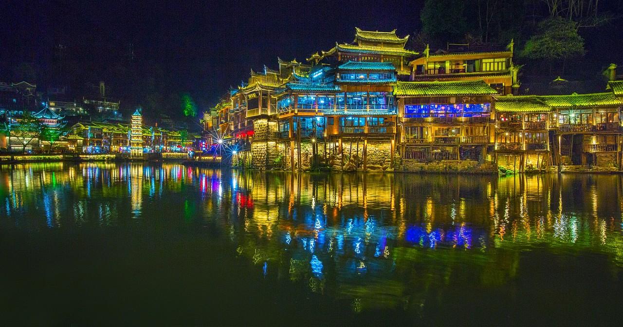 凤凰古城夜景!