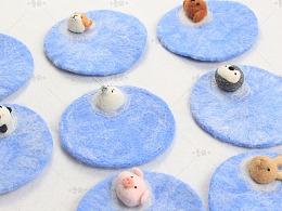海豹杯垫 猫咪柴犬兔子企鹅熊猫小猪泰迪狗手工羊毛毡