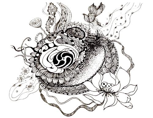 黑白画|涂鸦/潮流|插画|莫若然图片