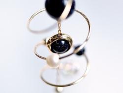 【尹子设计】宇宙的旋梯 星球系列进口包金耳环