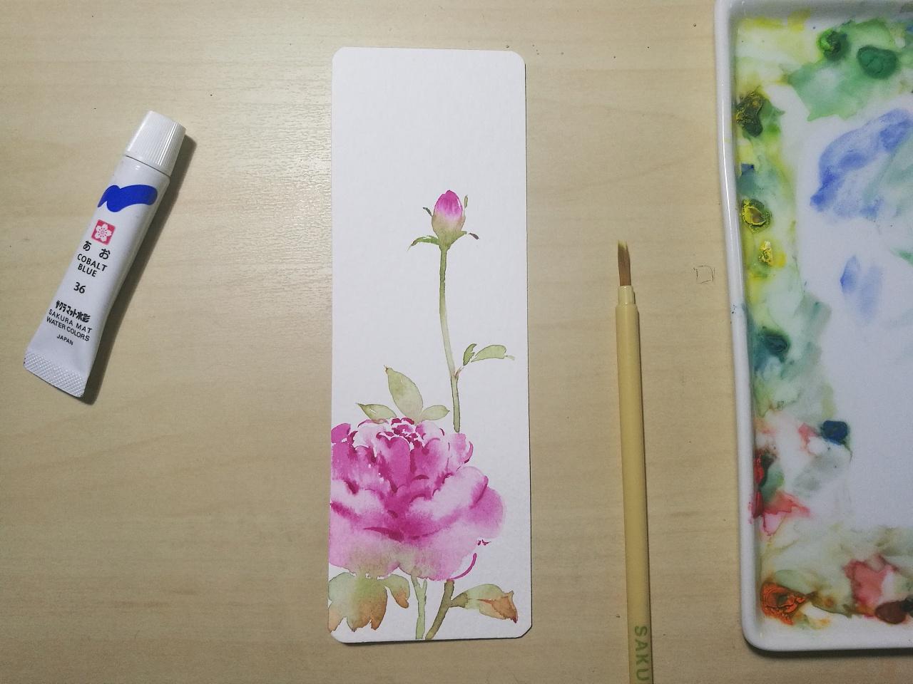 手绘书签 纯艺术 水彩 青心 - 原创作品 - 站酷