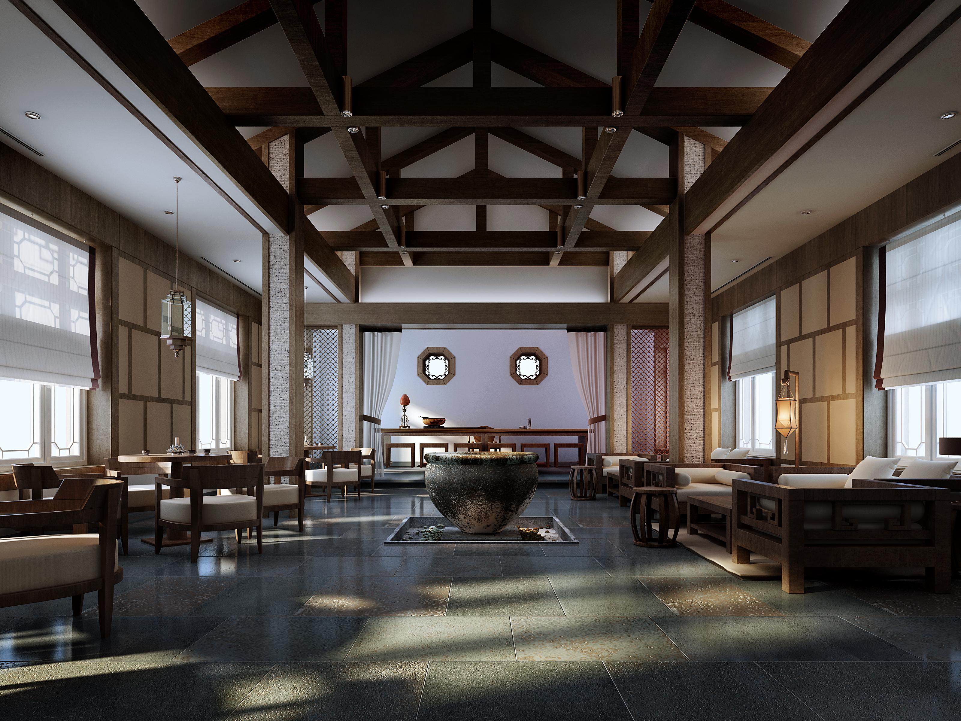 [说明]中式公司v公司成都装修通辽室内设计餐厅图片