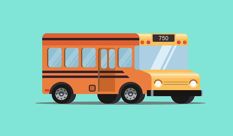 小清新风格巴士汽车图片