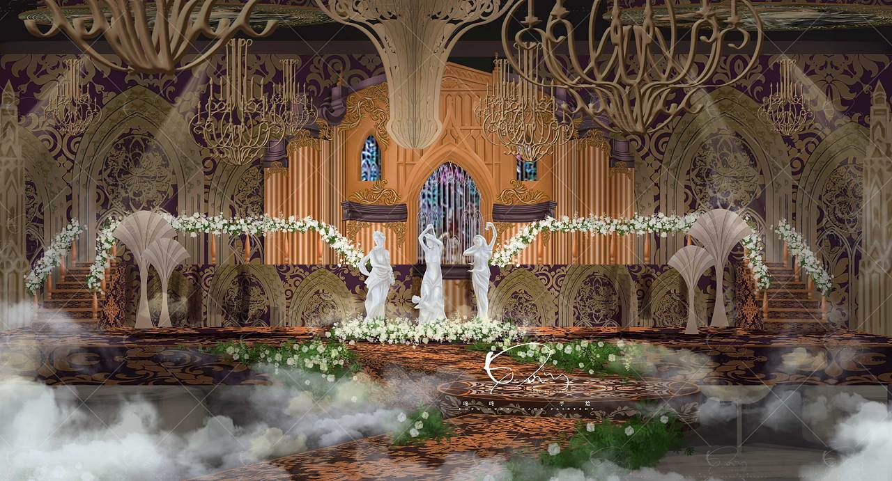 宫廷复古风婚礼手绘