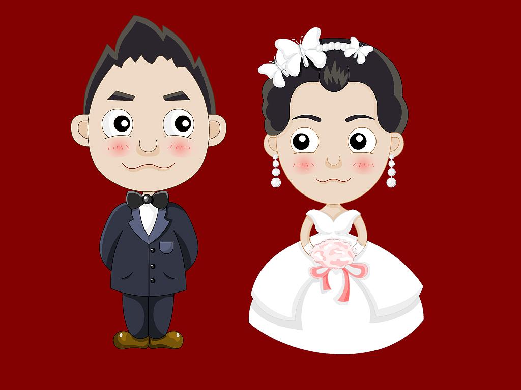 结婚人物可爱卡通漫画形象