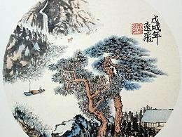 国画-青松出平湖